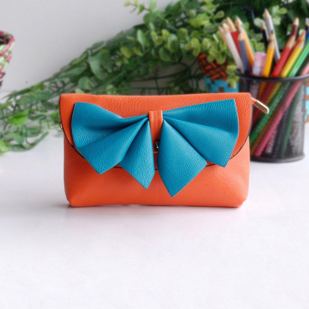 FB-BX069-ORANGE[Orange Wine] Colorful Leatherette Clutch Shoulder Bag Clutch Casual Purse