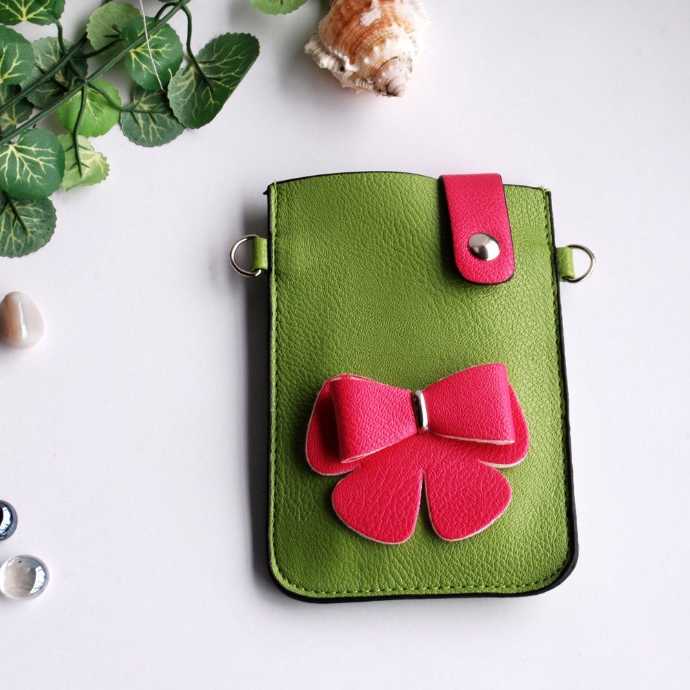 FB-BX9220-GREEN[Cute Bowknot] Colorful  Leatherette Mobile Phone Pouch Cell Phone Case Clutch Pouch