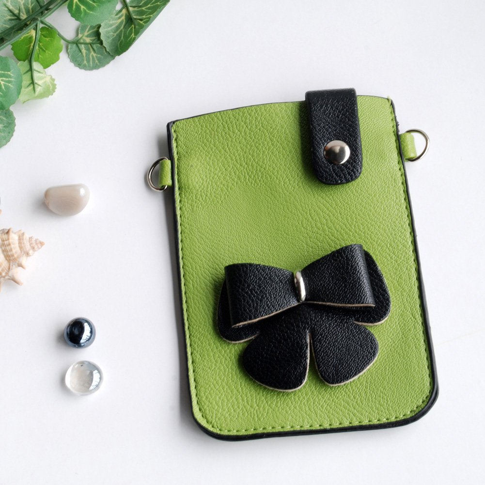 FB-BX9220-GREEN-1[Lively Heart] Colorful  Leatherette Mobile Phone Pouch Cell Phone Case Clutch Pouc