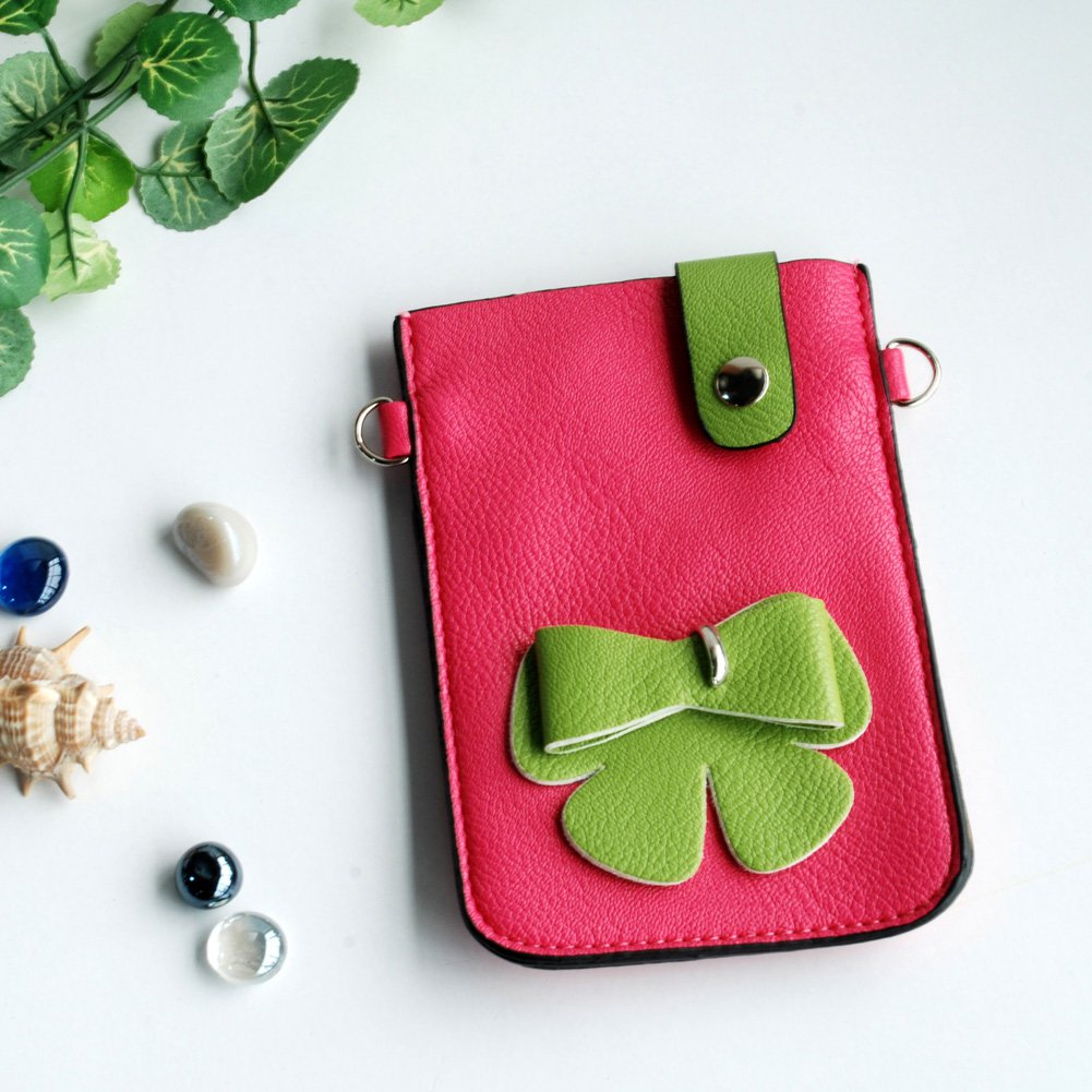FB-BX9220-PINK[Happy Bowknot] Colorful  Leatherette Mobile Phone Pouch Cell Phone Case Clutch Pouch