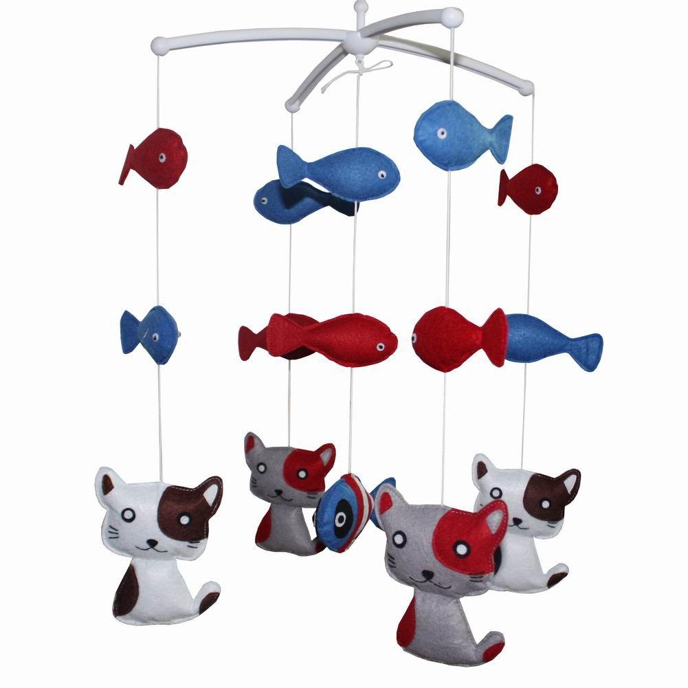 BC-BAB-ONIM0007-MIKI-CATH Baby's Friend Crib Mobile Crib Decorations Handmade Cot Mobile [Cat&Fish]