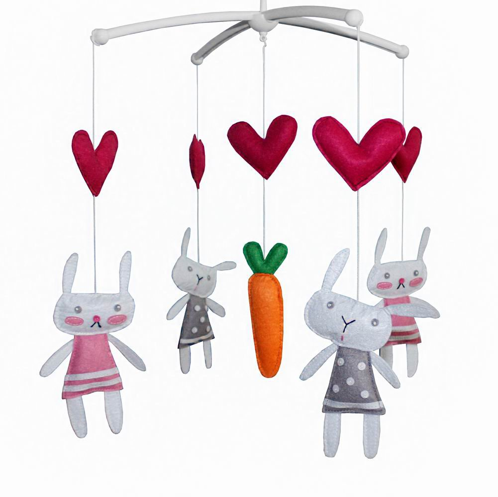 BC-BAB-ONIM0011-MIKI-CATH [Cute Rabbit] Creative Crib Mobile Handmade Baby Crib Musical Mobile