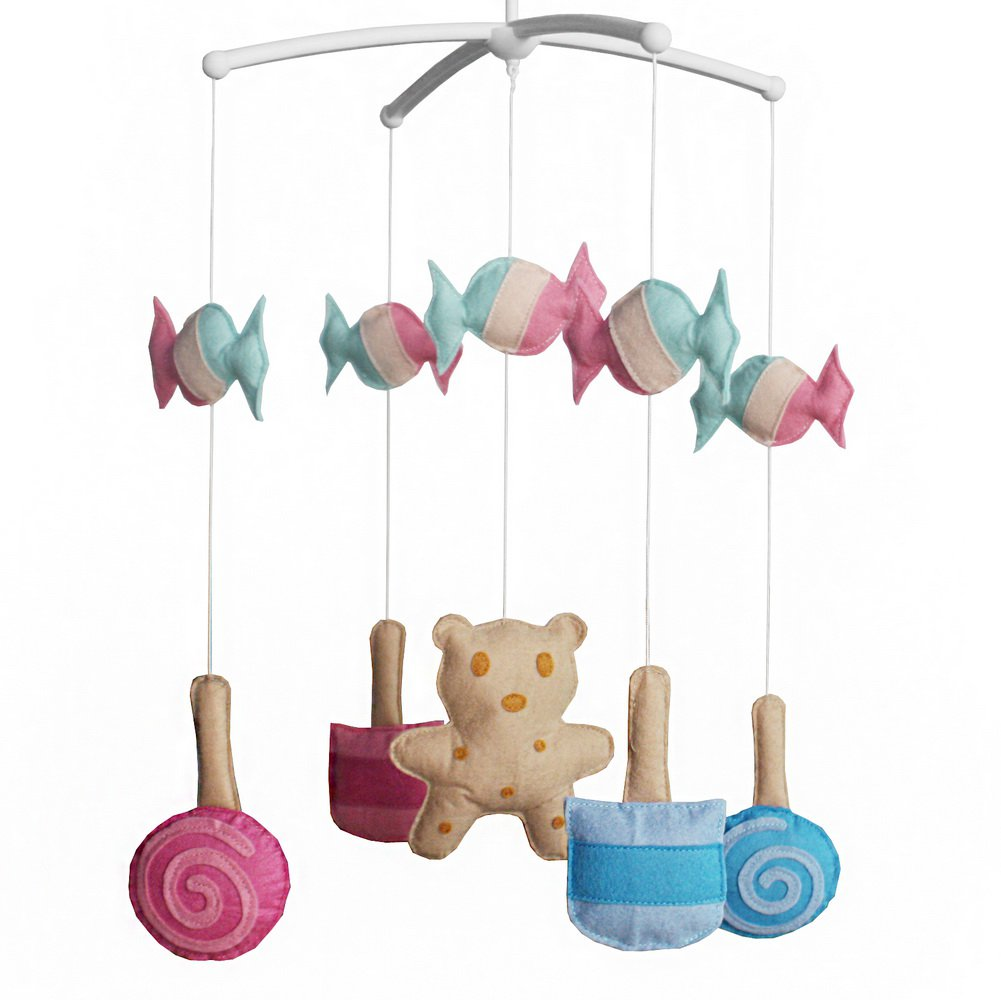BC-BAB-ONIM0027-WING-CELI [Lollipop and Biscuit] Crib Musical Hanging Rotate Bell Ring Mobile Toy