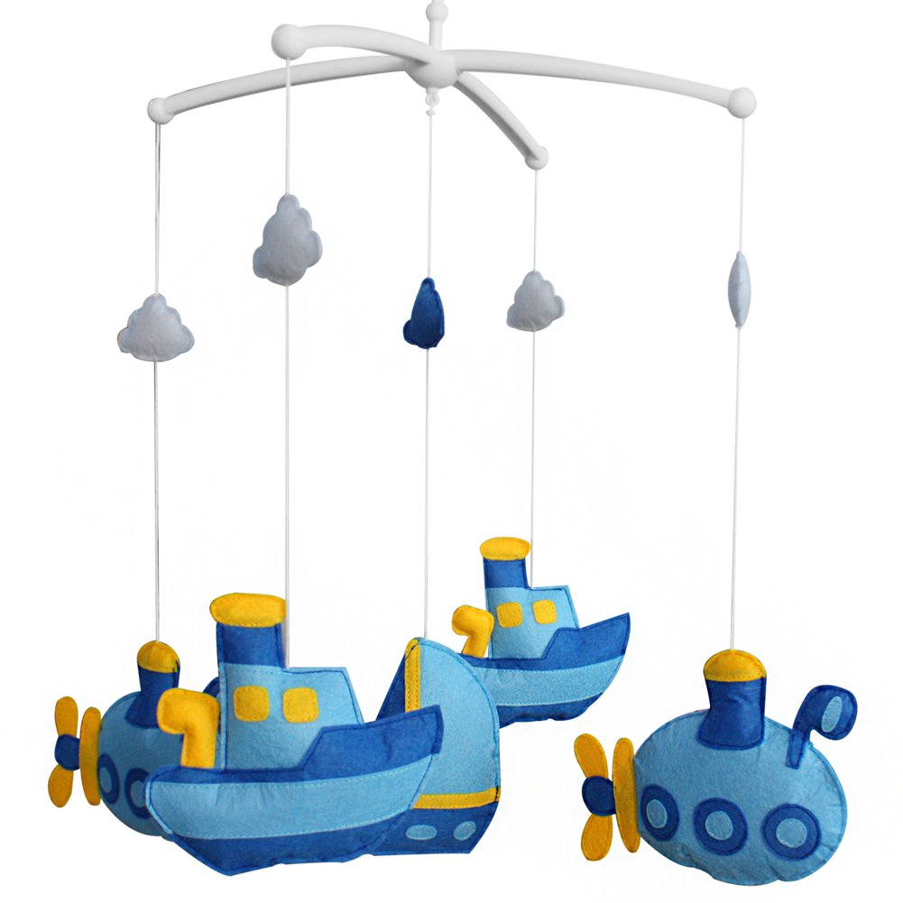 BC-BAB-ONIM0047-WING-EMMA Cute Crib Mobile Infant Bed Hanging Bell Crib Musical Toy Boat