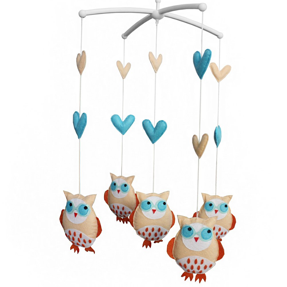 BC-BAB-ONIM0052-BELL-CELI Baby Bed Hanging Bell Mobile Cartoon Owls Musical Crib Mobile