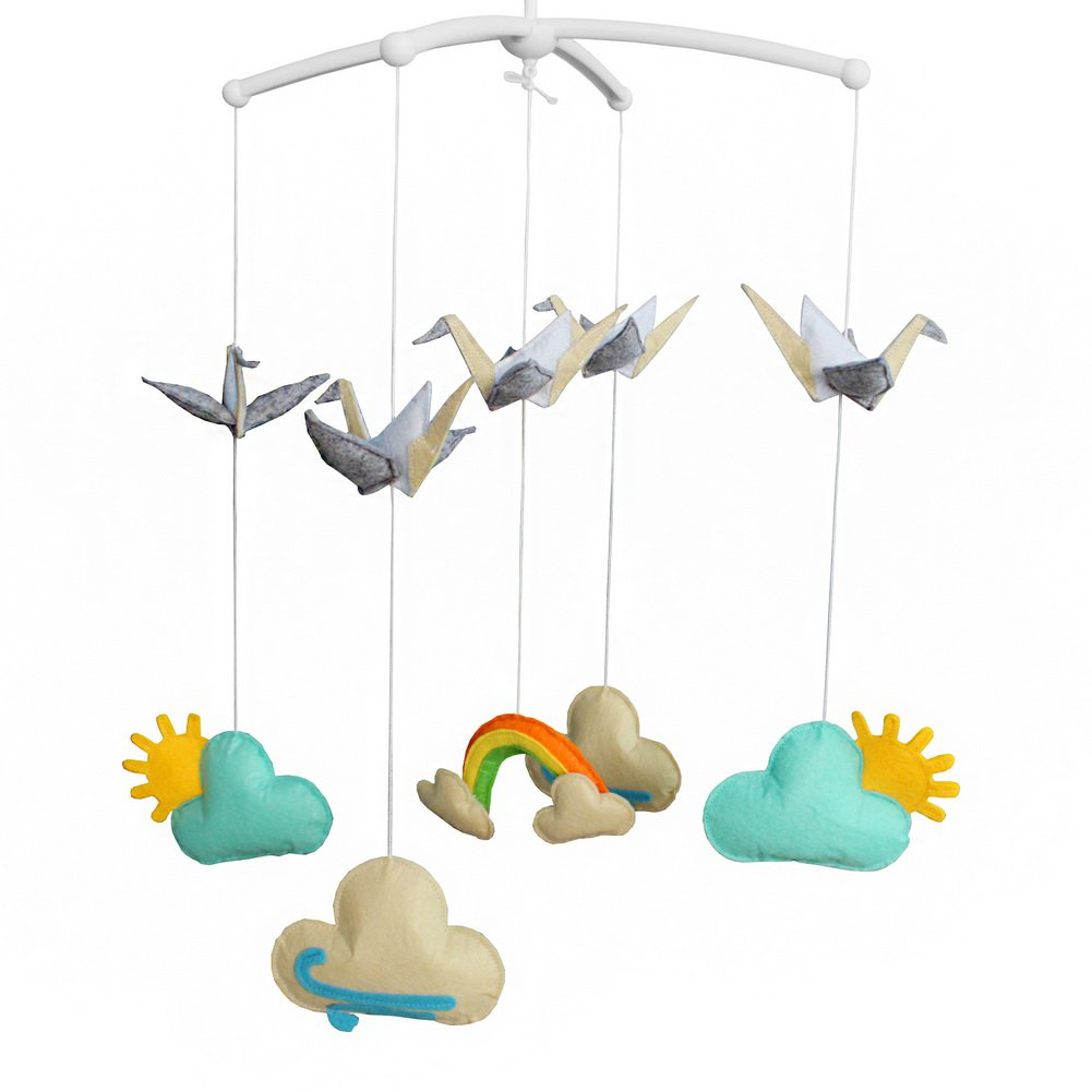 BC-BAB-ONIM0062-WING-CELI Creative Crib Musical Hanging Rotate Bell Ring Infant Rattle Mobile Toy