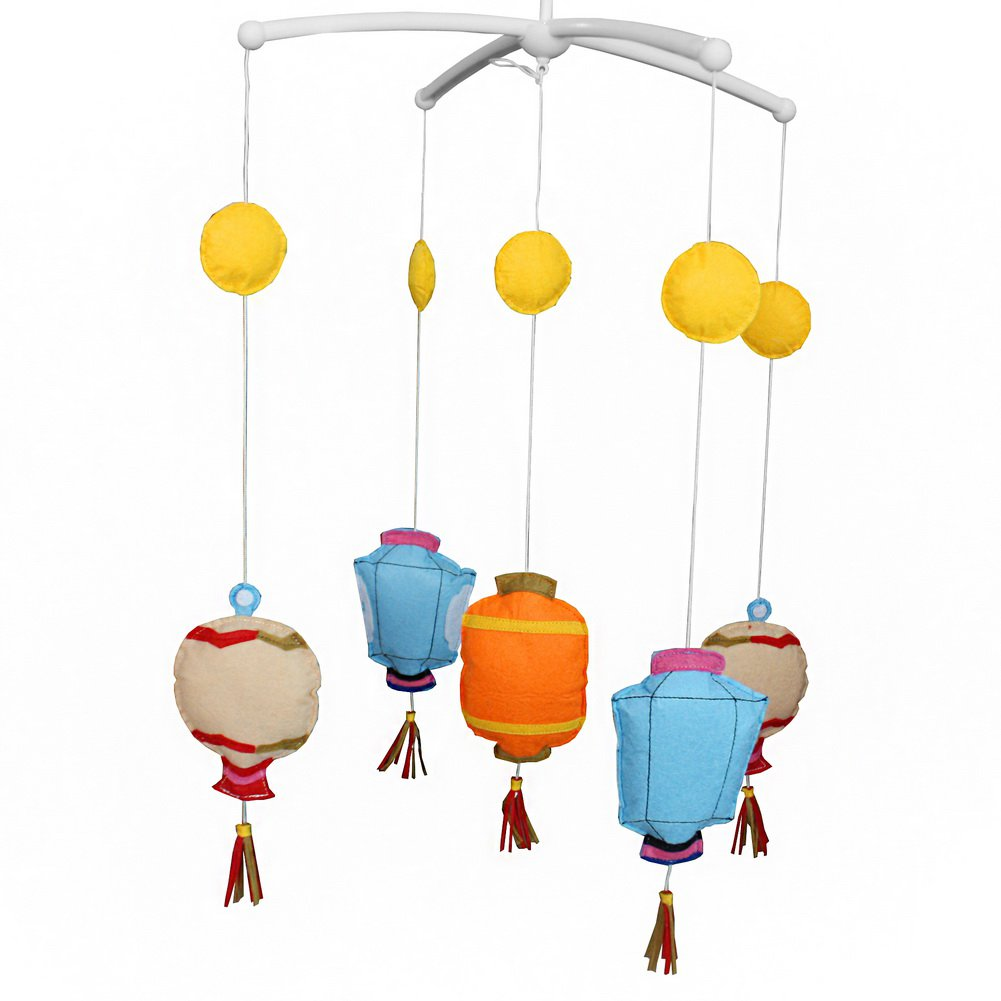 BC-BAB-ONIM0068-WING-CELI Creative Rotate Baby Mobile [Chinese Lantern] Bed Bell with Music