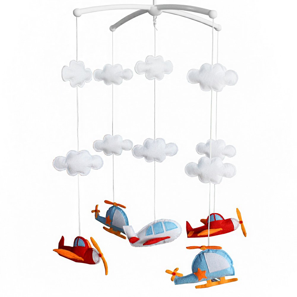 BC-BAB-ONIM0075-BELL-CELI Lovely Aircraft Rotating Musical Mobile Baby Bed Hanging Bell