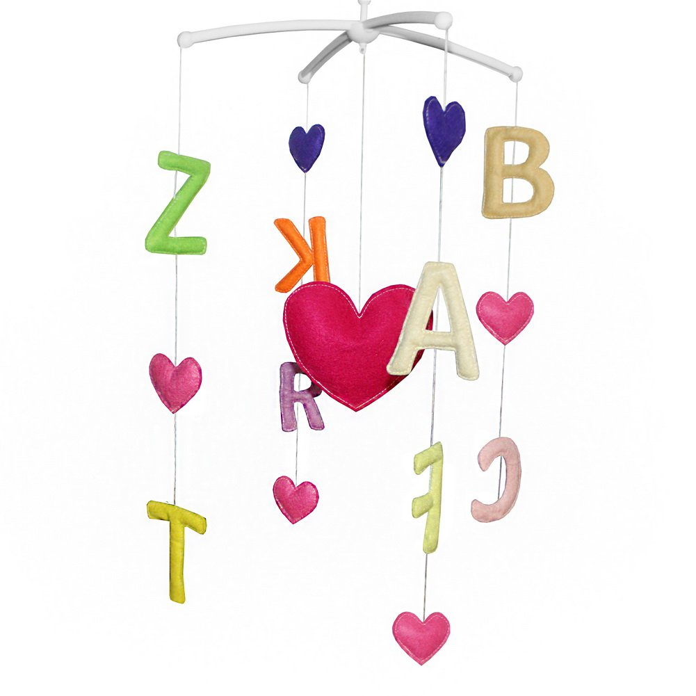 BC-BAB-ONIM0081-ELSA-CELI Rotate Bed Bell for Baby Musical Crib Mobile [Multicolor English Alphabet]