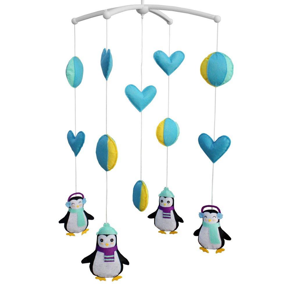 BC-BAB-ONIM0085-MIKI-CELI [Cute Penguins] Newborn Baby Musical Toys Crib Dreams Mobile