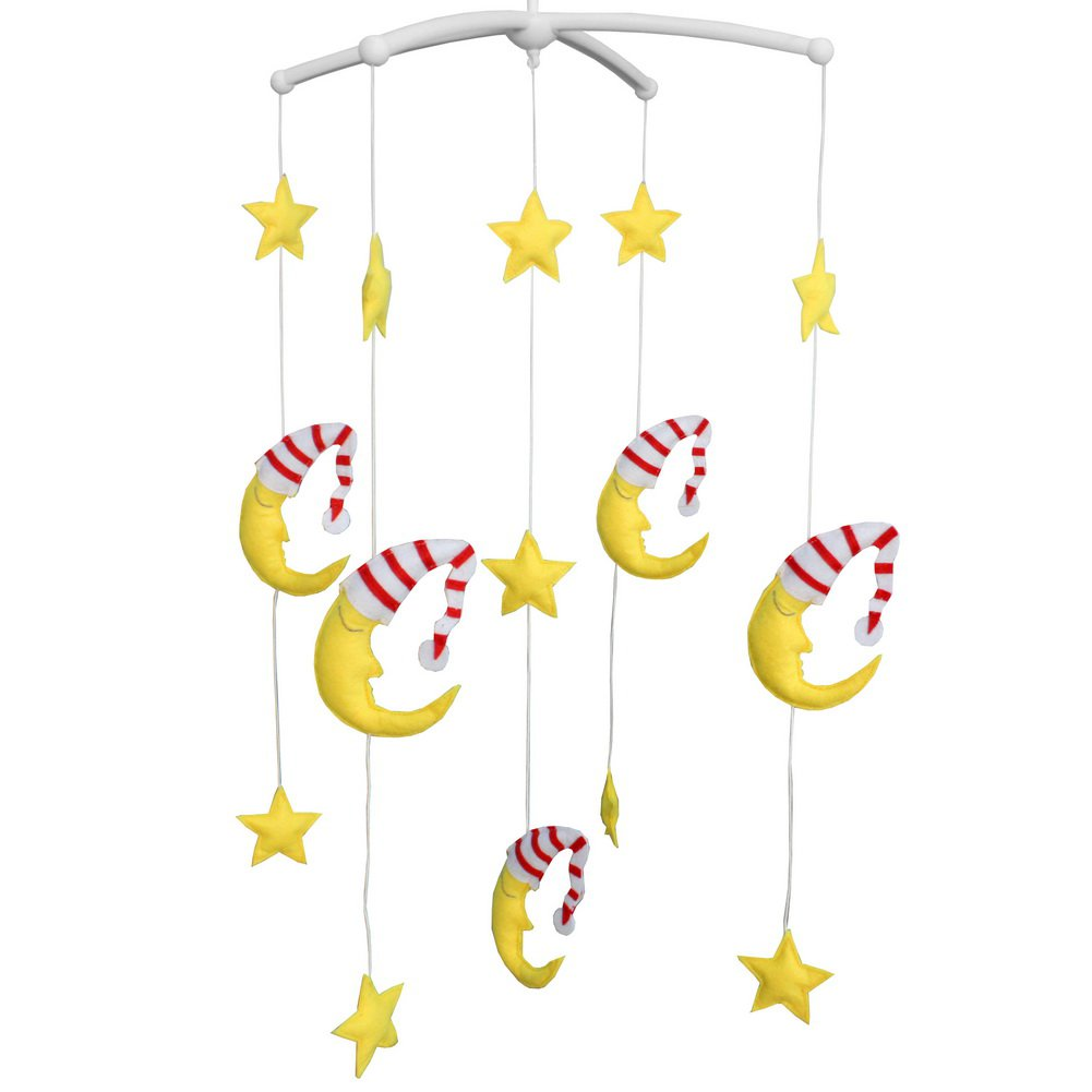 BC-BAB-ONIM0088-BELL-CELI Creative Rotate Bed Toy Handmade Baby Crib Bell Mobile [Moon and Stars]