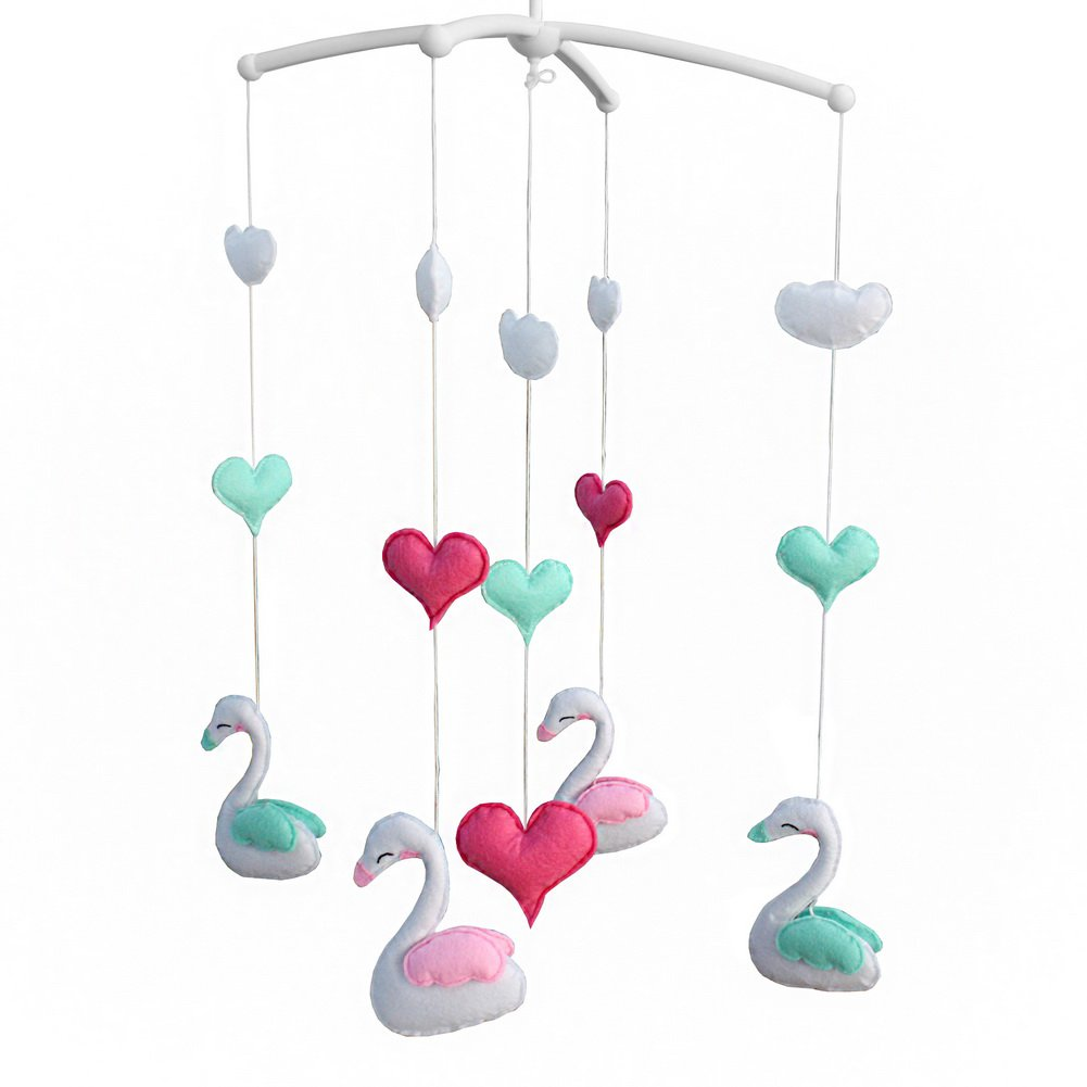 BC-BAB-ONIM0091-BELL-CELI [Cute Swan] Rotatable Musical Mobile for Baby Crib / Stroller