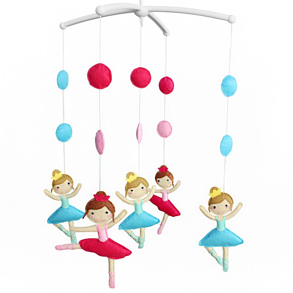 BC-BAB-ONIM0096-MIKI-CELI [Dancing Girl, Ballet] Musical Mobile Baby Crib Rotatable Bed Bell