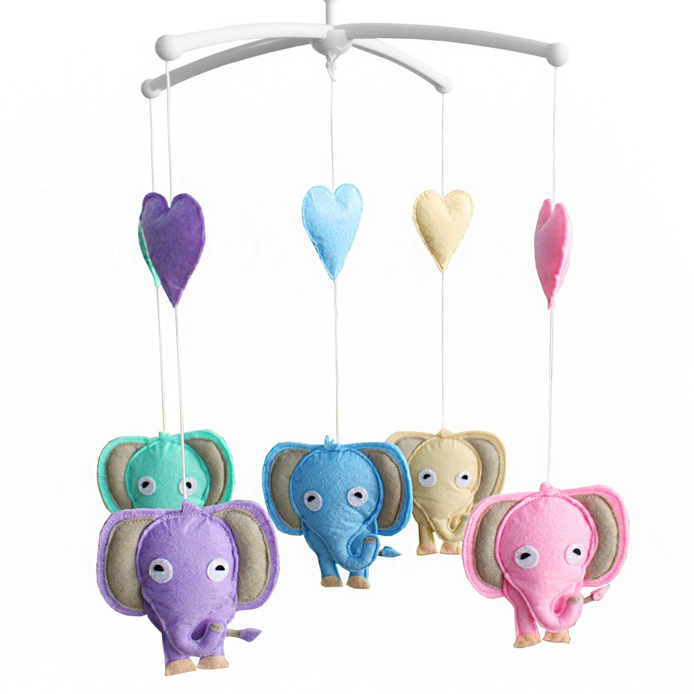 BC-BAB-ONIM0106-WING-CELI Unisex Baby Crib Rotatable Musical Mobile [Happy Elephants]