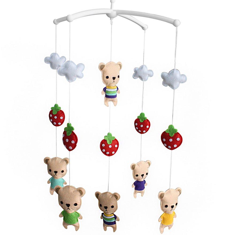 BC-BAB-ONIM0107-BELL-CELI [Strawberry and Cartoon Bears] Unisex Baby Crib Rotatable Musical Mobile