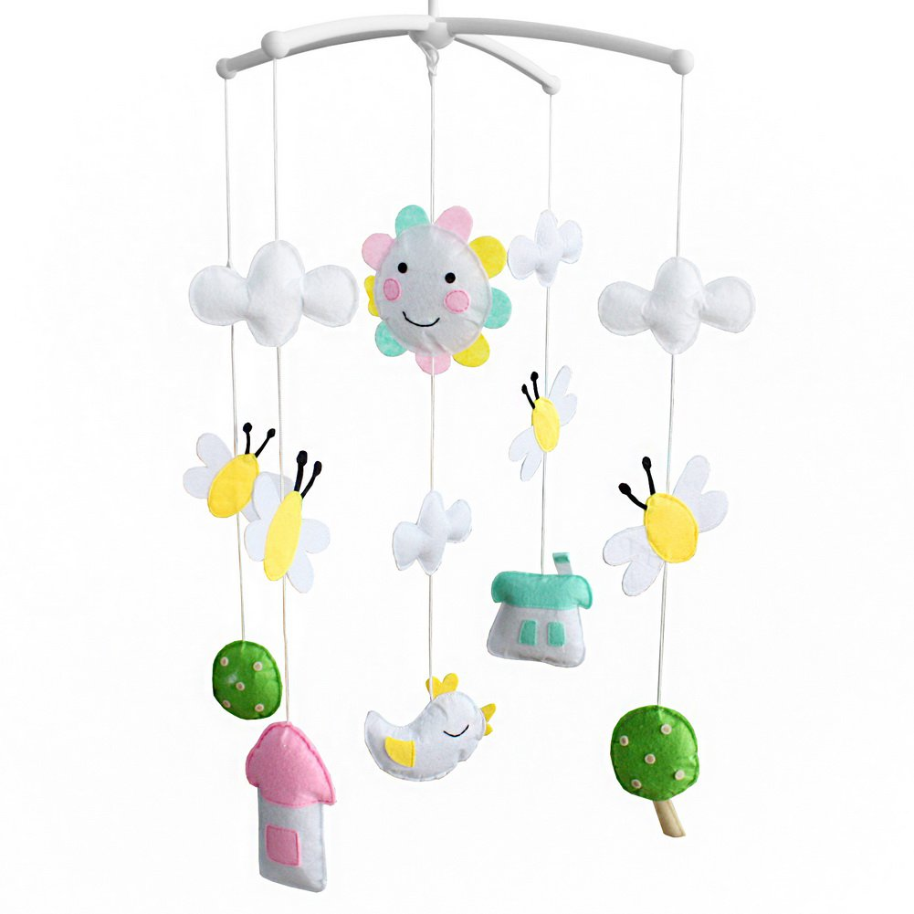 BC-BAB-ONIM0109-BELL-CELI Baby Crib Rotatable Musical Mobile [Natural Scenery] Rotatable Bed Bell
