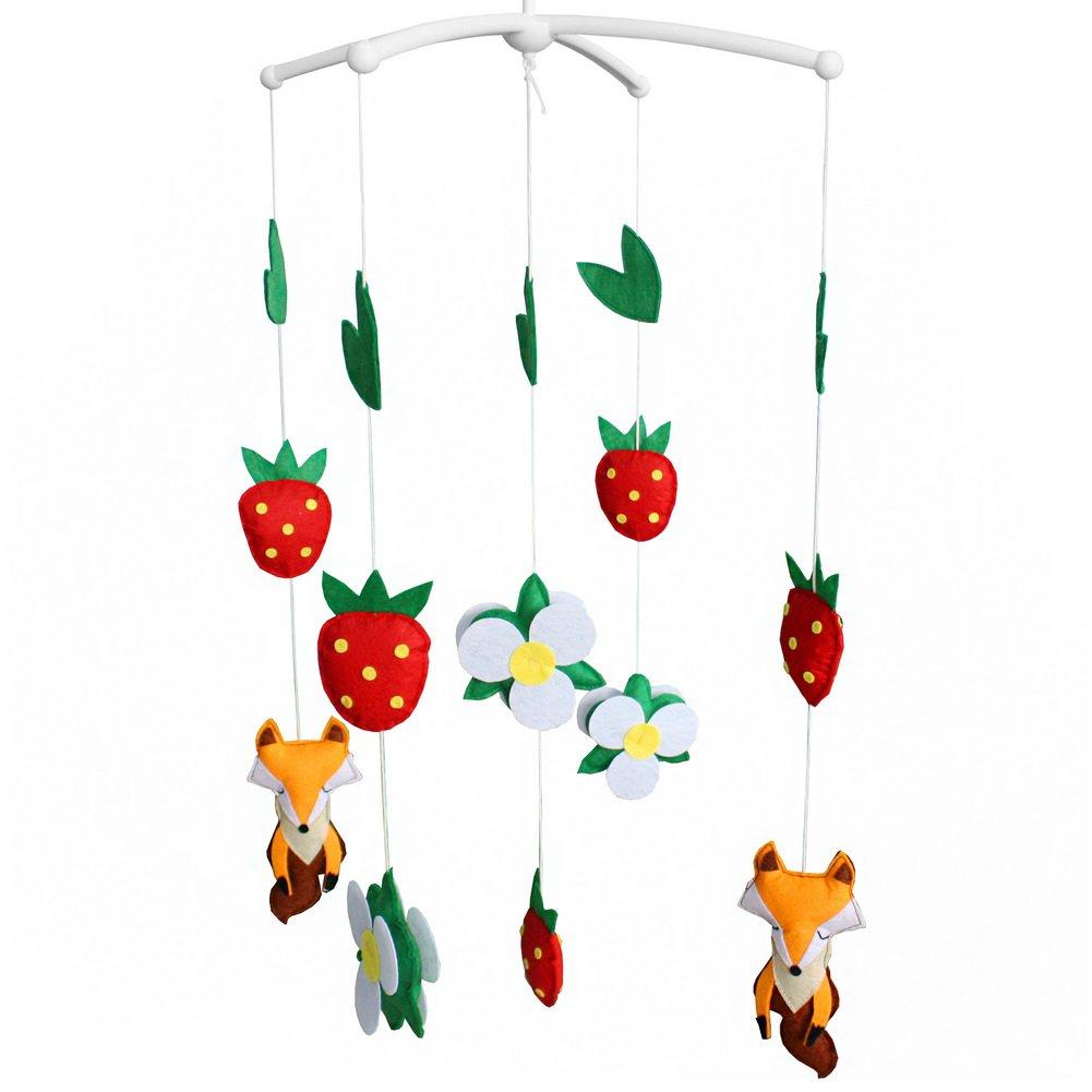 BC-BAB-ONIM0112-BELL-CELI Cute Baby Crib Rotatable Musical Bed Bell [Cartoon Fox and Strawberry]