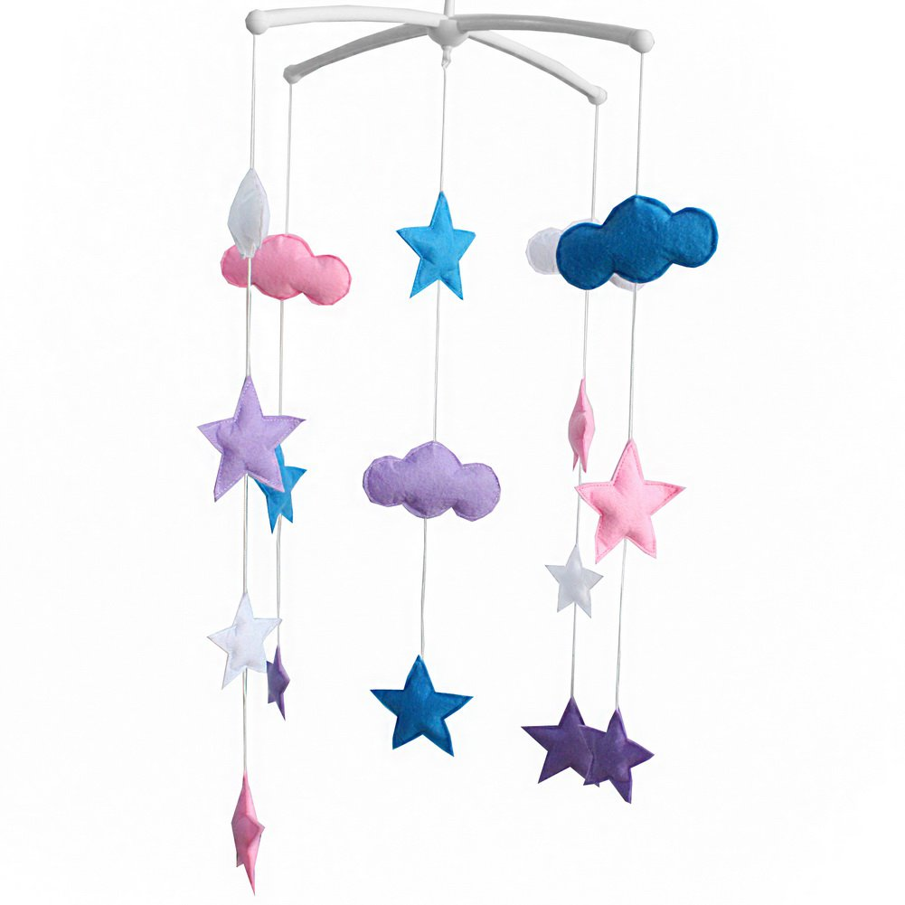 BC-BAB-ONIM0115-ELSA-CELI Baby Crib Rotatable Bed Bell [Cloud and Stars] Colorful Baby Toys