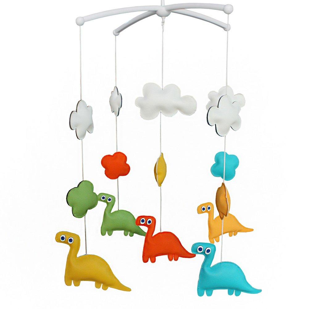 BC-BAB-ONIM0120-BELL-CELI Colorful PU Leather Dinosaur Dolls Handmade Cute Baby Crib Rotatable Bed B