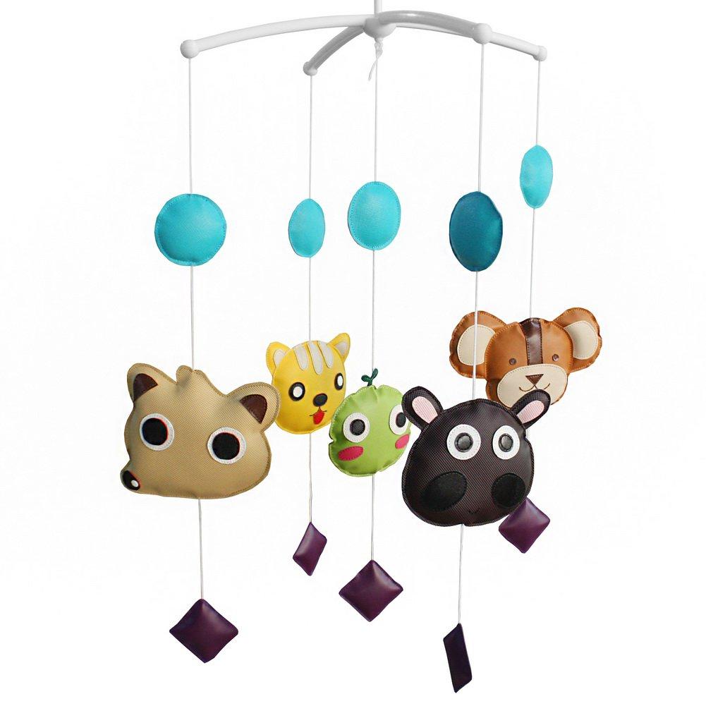BC-BAB-ONIM0121-WING-CELI Cute PU Leather Animal Dolls Handmade Baby Crib Rotatable Musical Mobile