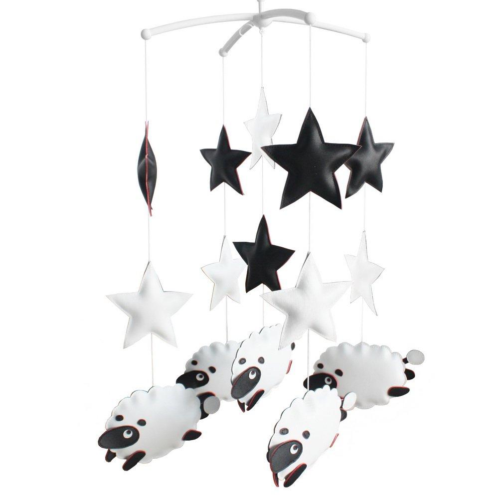 BC-BAB-ONIM0128-BELL-CELI Hanging PU Toys Nursery Rotatable Musical Mobile [Sheep and Stars]