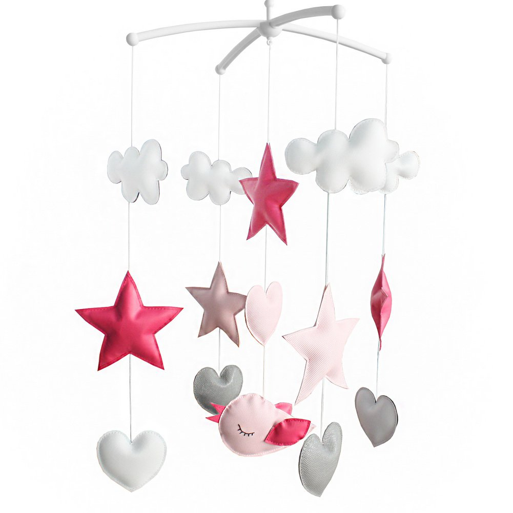 BC-BAB-ONIM0129-BELL-CELI Beautiful Nursery Rotatable Musical Mobile Handmade Hanging Toys