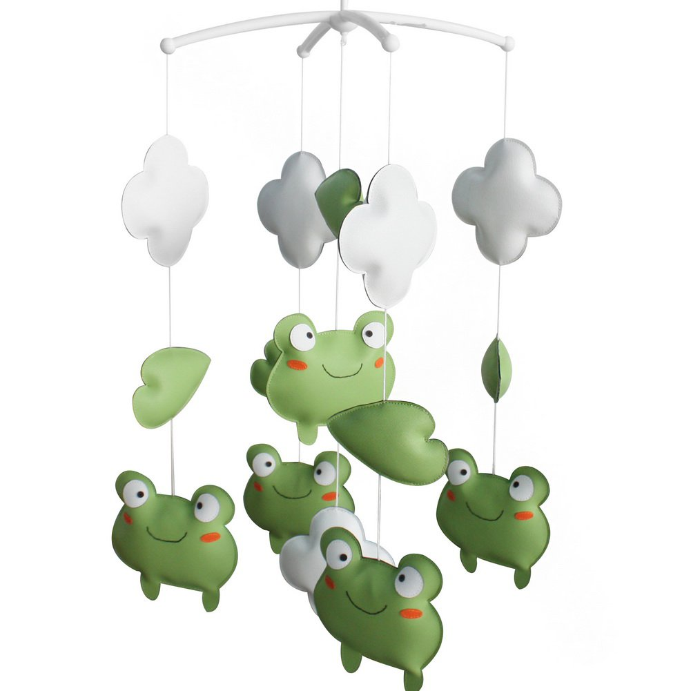 BC-BAB-ONIM0134-BELL-CELI [Cute Frogs] Nursery Rotatable Musical Mobile for Crib Decoration