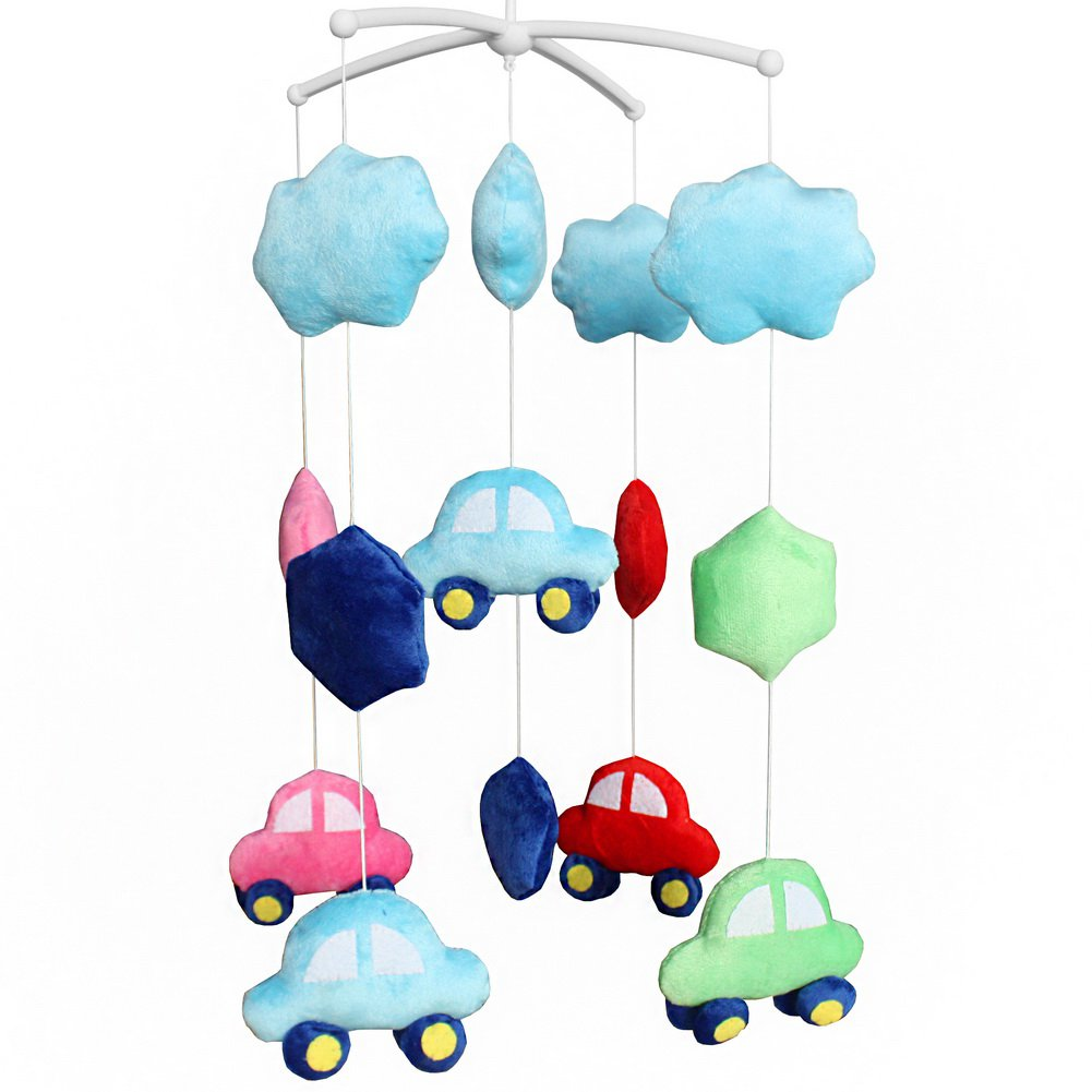 BC-BAB-ONIM0137-BELL-CELI Exquisite Baby Crib Bed Bell Handmade Plush Hanging Toys [Multicolor Cars]