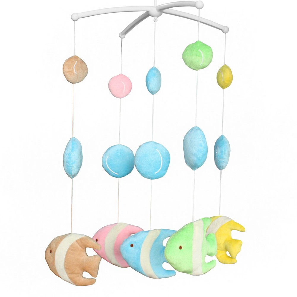 BC-BAB-ONIM0142-BELL-CELI Wind-up Music Box Mobile Exquisite Baby Crib Decoration [Tropical Fish]