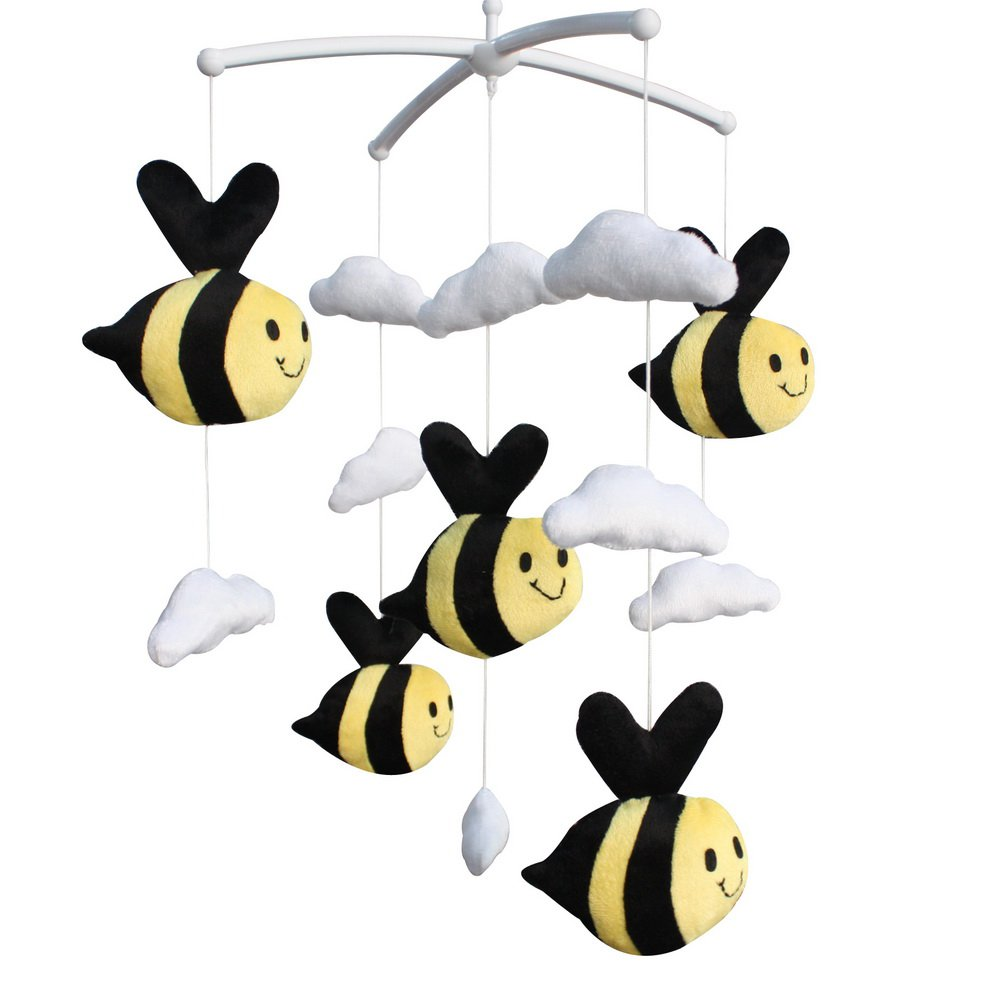 BC-BAB-ONIM0147-WING-CELI Cute Bee Plush Toy Adorable Baby Crib Decoration Music Mobile