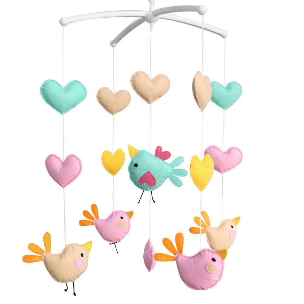 BC-BAB-ONIM0150-WING-CELI Nursery Crib Decor Musical Mobile [Birds] Exquisite Handmade Toys