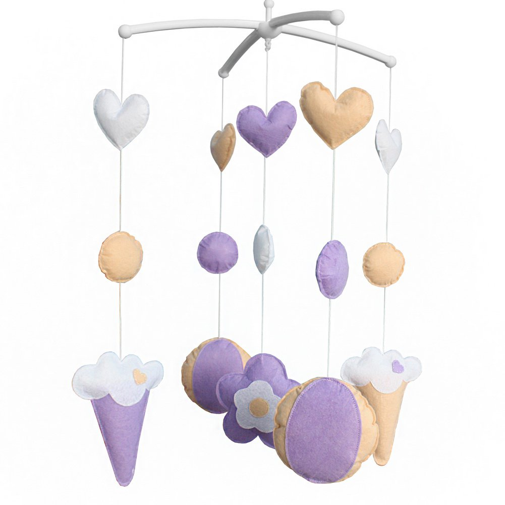 BC-BAB-ONIM0151-BELL-CELI [Purple & Sweet] Exquisite Handmade Toys Crib Decor Musical Mobile