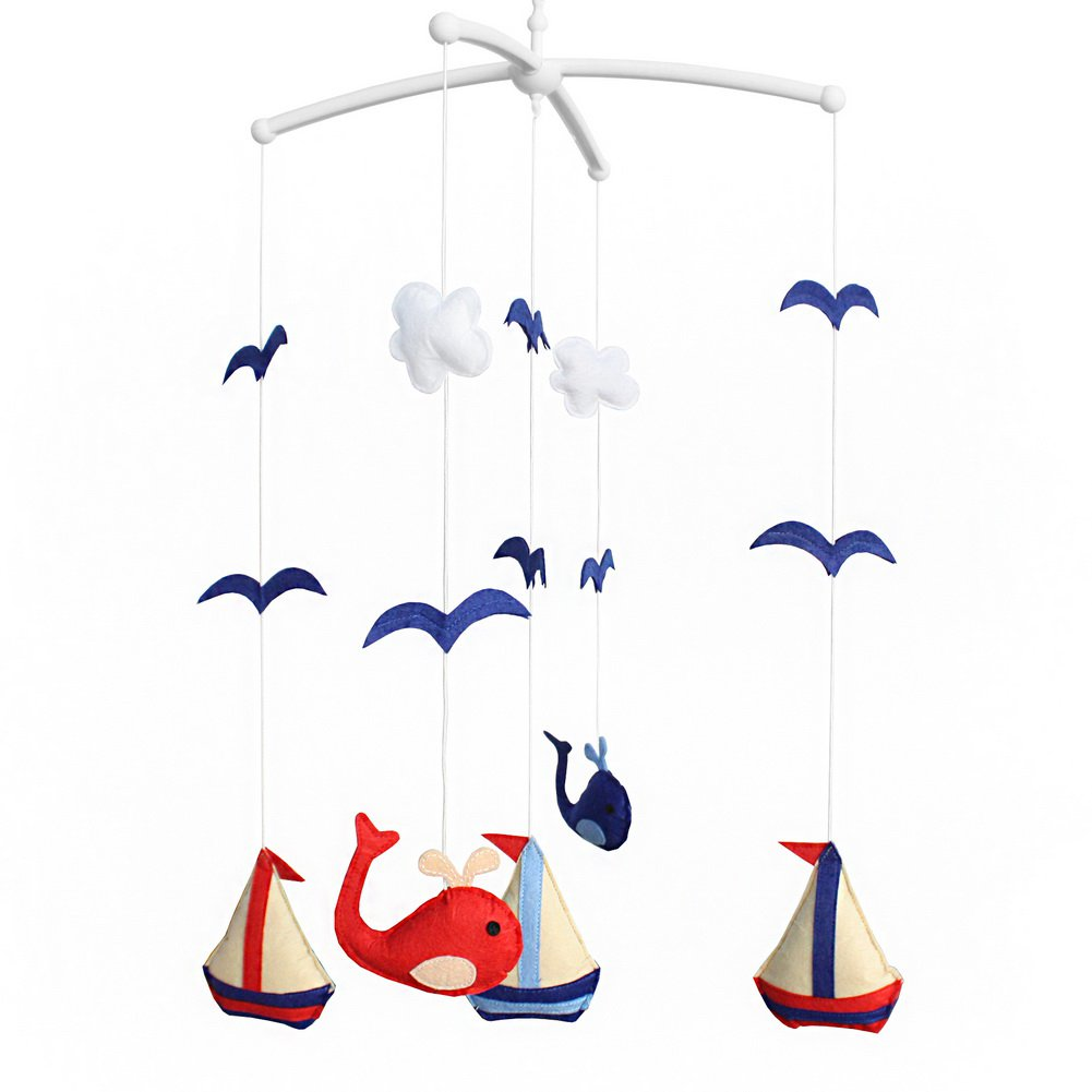 BC-BAB-ONIM0155-WING-CELI Cute Baby Nursery Crib Musical Mobile [Sailing] Light Music Crib Mobile