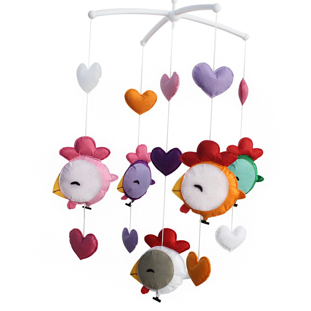 BC-BAB-ONIM0158-WING-CELI Colorful Hanging Toys, Exquisite Musical Baby Mobile for Crib [Chick]