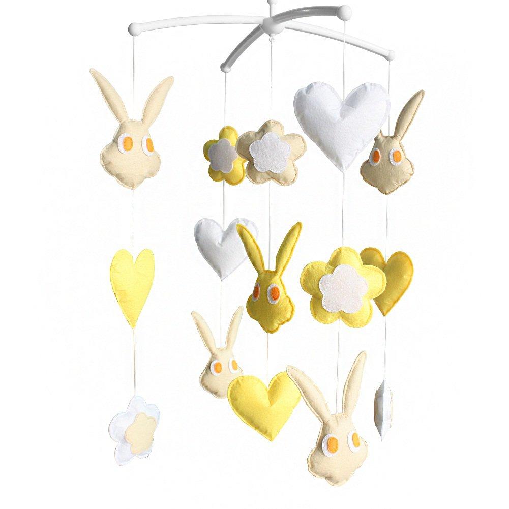 BC-BAB-ONIM0171-BELL-CELI Cute Crib Toys, Crib Stroller Mobile [Rabbit] Baby Bedding Musical Mobile
