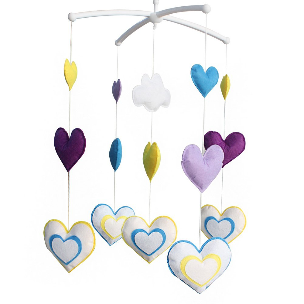 BC-BAB-ONIM0176-BELL-CELI [Colorful Hearts] Nice Gift for Baby, Baby Crib Musical Mobile Music Box