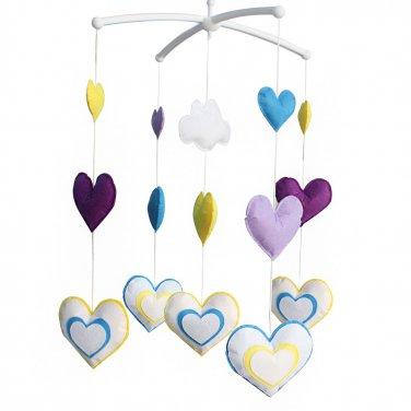 BC-BAB-ONIM0176-BELL-CELI [Colorful Hearts] Nice Gift for Baby, Baby Crib Musical Mobile Music Box