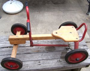 Vintage Radio Flyer Row Cart Wood And Metal Riding Toy Good Condition