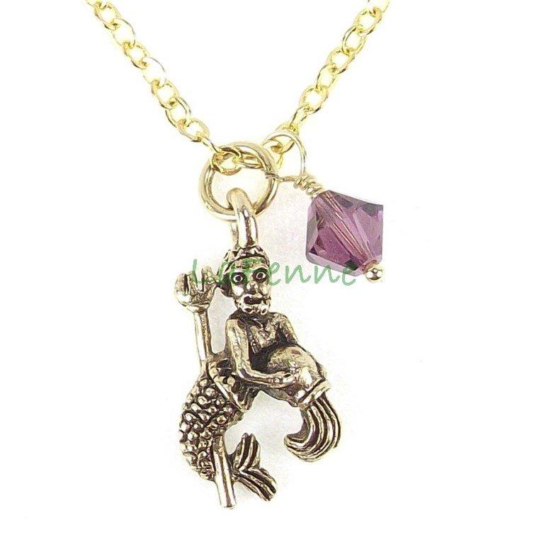 February Aquarius Zodiac Amethyst Swarovski Birthstone Gold Plated Astrology Necklace, Made in USA