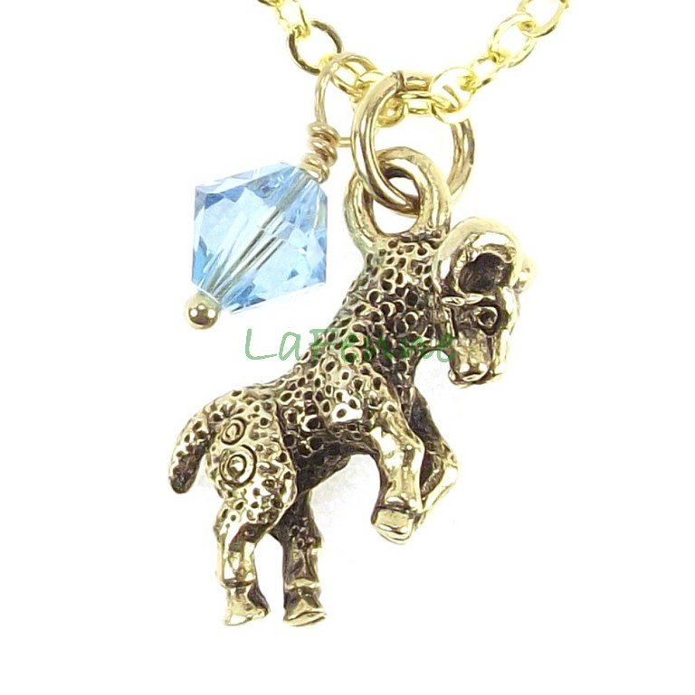 March Zodiac Aries Aquamarine Swarovski Birthstone Gold Plated Astrology Necklace, Made in USA