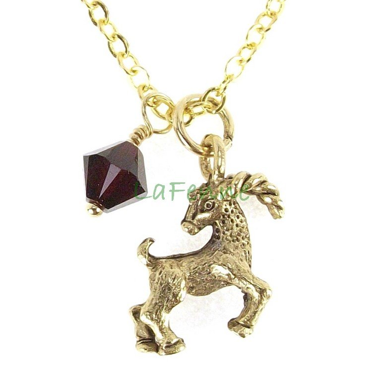 January Capricorn Garnet Swarovski Birthstone Gold Plated Astrology Zodiac Necklace