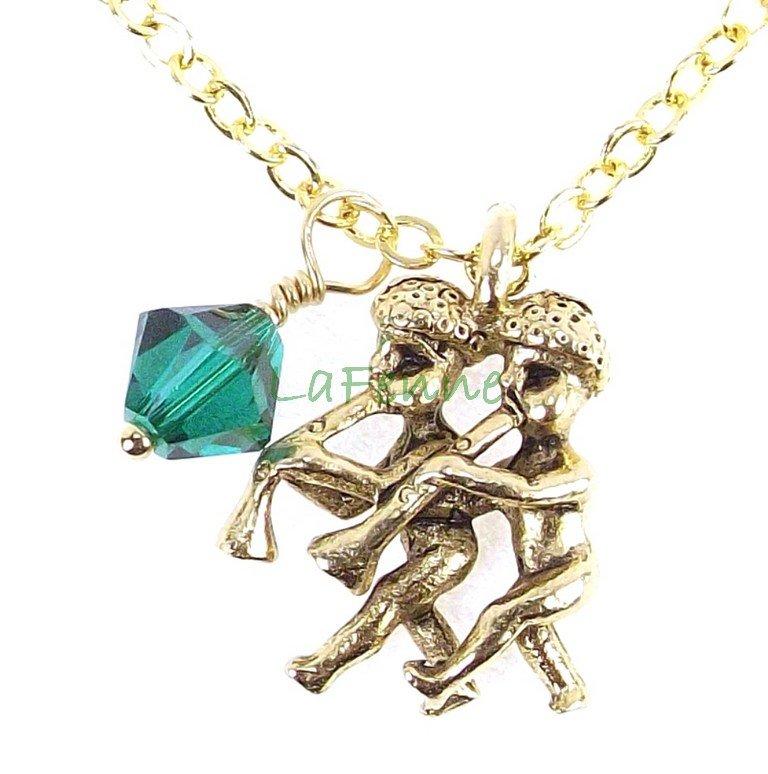May Gemini Zodiac Emerald Swarovski Birthstone Gold Plated Astrology Necklace, Made in USA