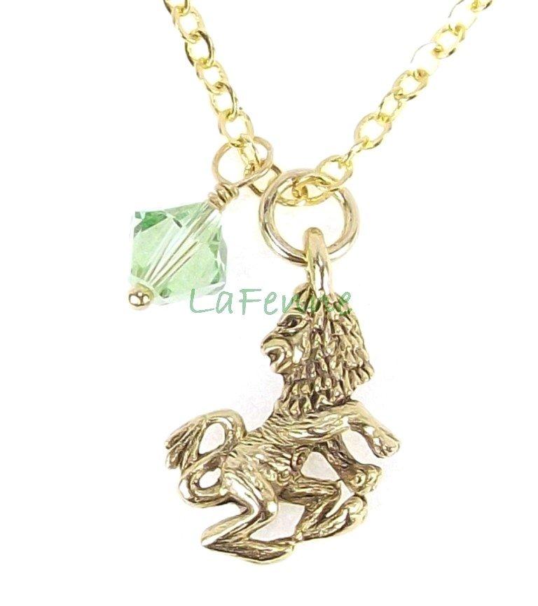 August Leo Zodiac Peridot Swarovski Birthstone Gold Plated Astrology Necklace, Made in USA
