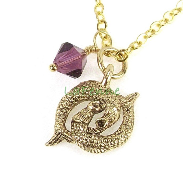 February Pisces Zodiac Amethyst Swarovski Birthstone Gold Plated Astrology Necklace, Made in USA