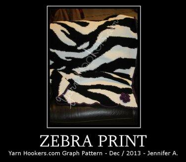 Zebra Animal Print Stripes - Afghan Crochet Graph Pattern Chart