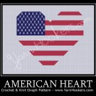 American Heart National Flag - Afghan Crochet Graph Pattern Chart