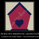 Burgundy Birdhouse - Afghan Crochet Graph Pattern Chart