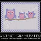 Owl Trio - Afghan Crochet Graph Pattern Chart