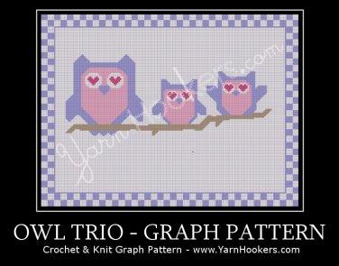 Owl Trio - Afghan Crochet Graph Pattern Chart