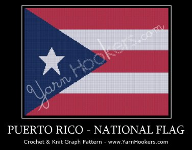 Puerto Rico - National Flag -  Afghan Crochet Graph Pattern Chart